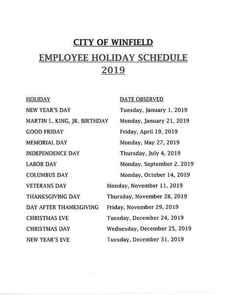 2019 Employee Holiday Schedule